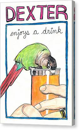 Dexter Enjoys A Drink Canvas Print by Ana Tirolese