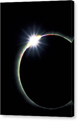 Diamond Ring Effect During Solar Eclipse Canvas Print by David Nunuk