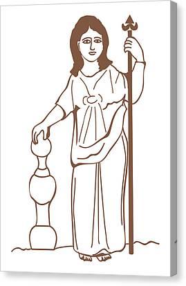 Digital Illustration Of Ancient Gaulish Goddess Of Nature Nantosuelta Canvas Print by Dorling Kindersley