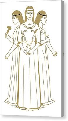 Digital Illustration Of Celtic Triple Goddess Brigit Holding Snakes Rising From Flames Canvas Print by Dorling Kindersley