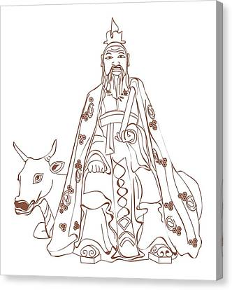 Digital Illustration Of Chinese Philosopher Confucius Sitting On Cow Canvas Print by Dorling Kindersley