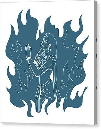 Digital Illustration Of Hindu Goddess Sati Praying In Sacrificial Fire Canvas Print by Dorling Kindersley