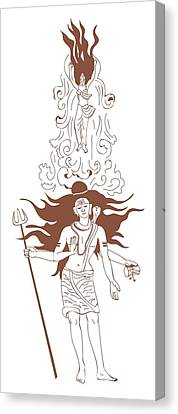 Digital Illustration Of Shiva With Flaming Hair And Goddess Ganga Rising From Flowing Stream Above R Canvas Print by Dorling Kindersley