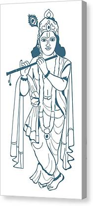 Digital Illustration Of Vishnu Playing Flute Canvas Print by Dorling Kindersley