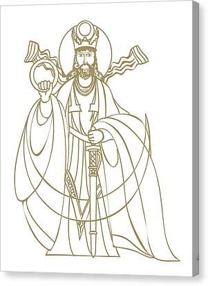 Digital Illustration Of Zoroastrian Deity Kshathra Vairya Canvas Print by Dorling Kindersley