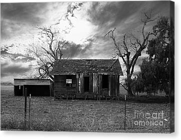 Dilapidated Old Farm House . 7d10341 . Black And White Canvas Print by Wingsdomain Art and Photography