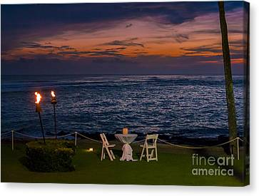 Dinner Setting In Paradise Canvas Print by Darcy Michaelchuk