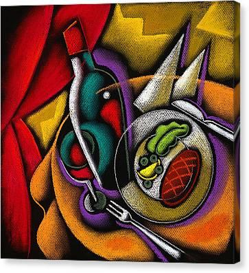 Dinner With Wine Canvas Print by Leon Zernitsky