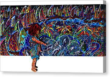 Distressed Fish Canvas Print by Karen Elzinga
