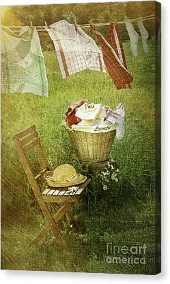Distressed Photo Of Wash Day  Canvas Print by Sandra Cunningham