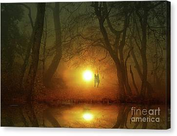 Dog At Sunset Canvas Print by Bruno Santoro