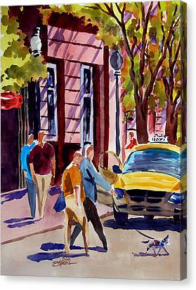 Dog Crossing Canvas Print by Ron Stephens