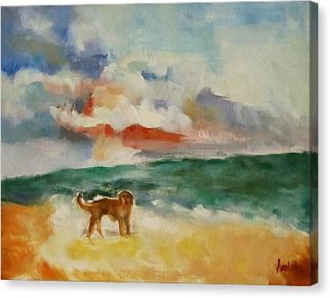 Dog On The Beach Canvas Print by Susan Hanlon