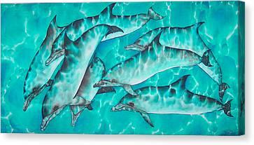 Dolphin Pod Canvas Print by Daniel Jean-Baptiste