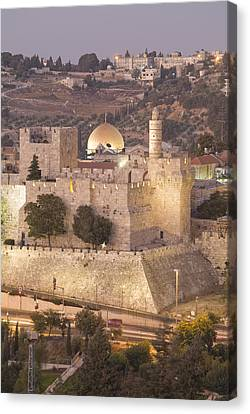 Dome Of The Rock With Tower Of David Canvas Print by Richard Nowitz