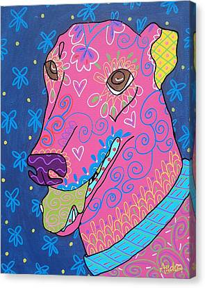 Doodle Greyhound Canvas Print by Audra Sampson