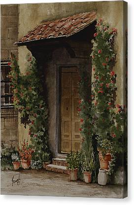 Door With Roses Canvas Print by Sam Sidders