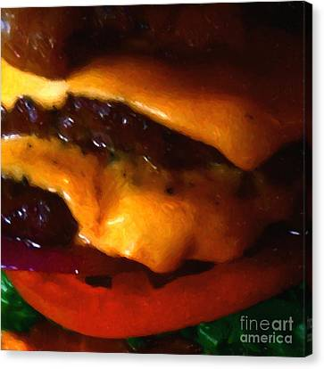 Double Cheeseburger With Bacon - Square - Painterly Canvas Print by Wingsdomain Art and Photography
