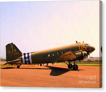 Douglas C47 Skytrain Military Aircraft . Painterly Style 7d15788 Canvas Print by Wingsdomain Art and Photography