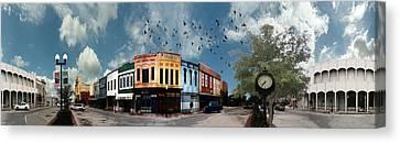 Downtown Bryan Texas 360 Panorama Canvas Print by Nikki Marie Smith