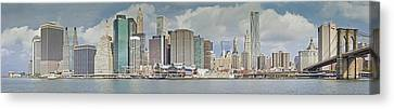 Downtown Manhattan Panorama 3 Canvas Print by Val Black Russian Tourchin