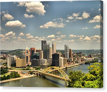 Downtown Pittsburgh Hdr Canvas Print by Arthur Herold Jr
