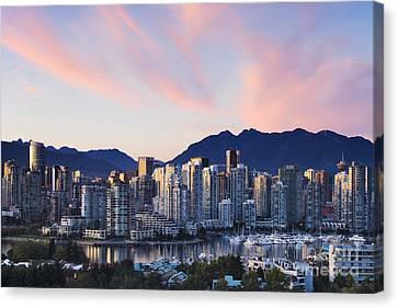 Downtown Vancouver Skyline At Dusk Canvas Print by Jeremy Woodhouse