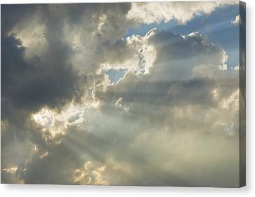 Dramatic Sunbeams And Storm Clouds Maine Photo Prints Canvas Print by Keith Webber Jr