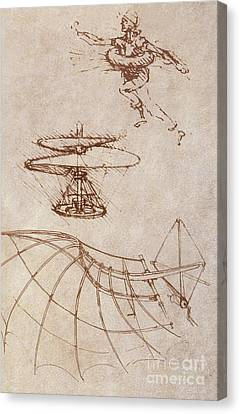 Drawings By Leonardo Divinci Canvas Print by Science Source