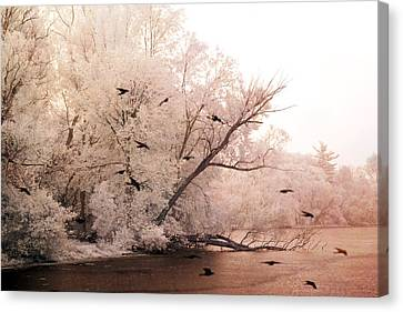 Dreamy Ethereal Infrared Lake With Ravens Birds Canvas Print by Kathy Fornal