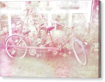 Dreamy Paris Pink Pastel Bicycle For Two Canvas Print by Kathy Fornal