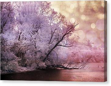 Dreamy Surreal Fantasy Pink Nature Lake Scene Canvas Print by Kathy Fornal