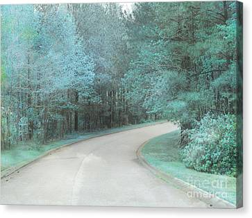 Dreamy Teal Aqua Blue Nature Trees Canvas Print by Kathy Fornal