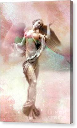 Ethereal Angel Art - Dreamy Whimsical Pastel Pink Dreaming Angel Art  Canvas Print by Kathy Fornal