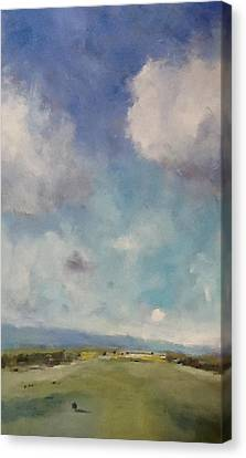 Drifting Clouds Over Arreton Valley Canvas Print by Alan Daysh