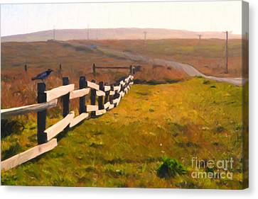 Driving Down The Lonely Highway . Study 1 . Painterly Canvas Print by Wingsdomain Art and Photography