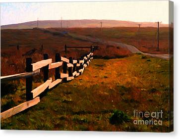 Driving Down The Lonely Highway . Study 2 . Painterly Canvas Print by Wingsdomain Art and Photography