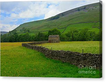 Dry Stone Walls And Stone Barn Canvas Print by Louise Heusinkveld