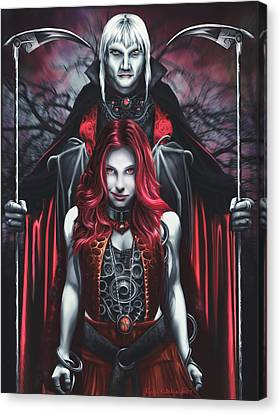 Dual Vampires Canvas Print by Rick Ritchie