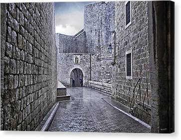 Dubrovnik In The Rain - Old City Canvas Print by Madeline Ellis