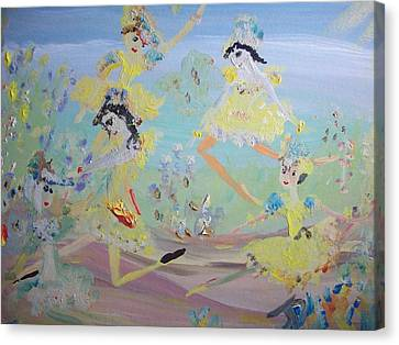 Duck Dance Canvas Print by Judith Desrosiers