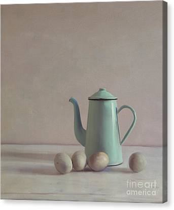 Duck Eggs And Coffee Pot Canvas Print by Paul Grand