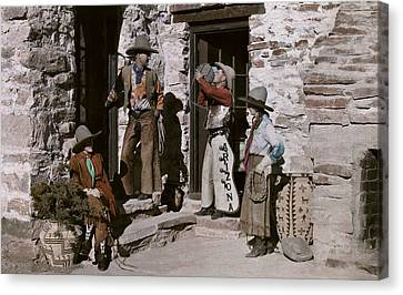 Dude Ranch Guests Pretend To Be Cowboys Canvas Print by Clifton R. Adams