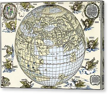 Durer's World Map, 1515 Canvas Print by Sheila Terry