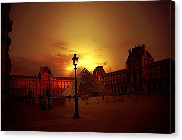 Dusk At The Louvre Canvas Print by Carrie OBrien Sibley