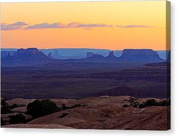 Dusk Muley Point And Monument Valley Canvas Print by Troy Montemayor