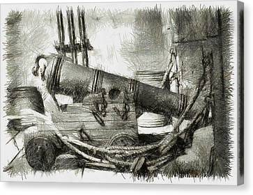 Early Years Of Artillery - Pencil Canvas Print by Nicholas Evans