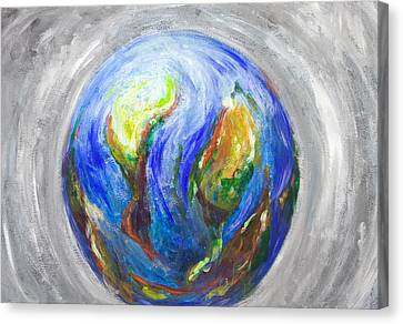 Earth In The Cradle Canvas Print by Kazuya Akimoto