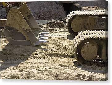 Earth Moving Equipment. An Excavator Canvas Print by Maksym Zaleskyy