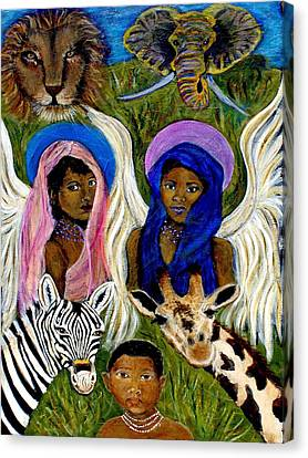 Earthangels Abeni And Adesina From Africa Canvas Print by The Art With A Heart By Charlotte Phillips